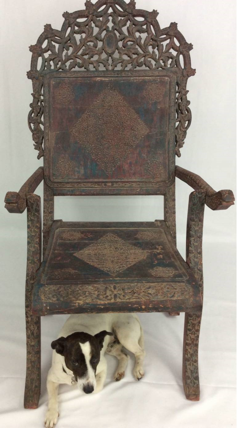Zoom; Rajasthani Vintage Wooden Folding Chair -0300a447-363c-4756-8d95-d4ee117d2249. - Rajasthani Vintage Wooden Folding Chair - The Hoarde
