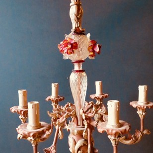 Rare, Wood and Murano Glass Italian Chandelier