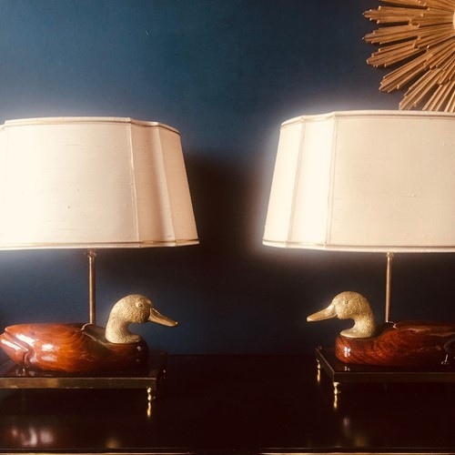 Pair of Italian Hand Carved Duck Lamps