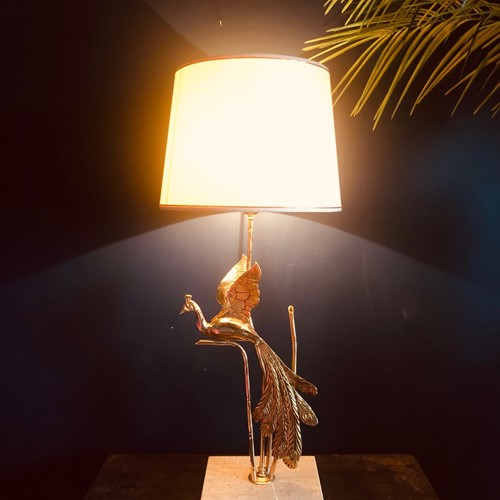 Tall Peacock Lamp by Lanciotto Galleotti