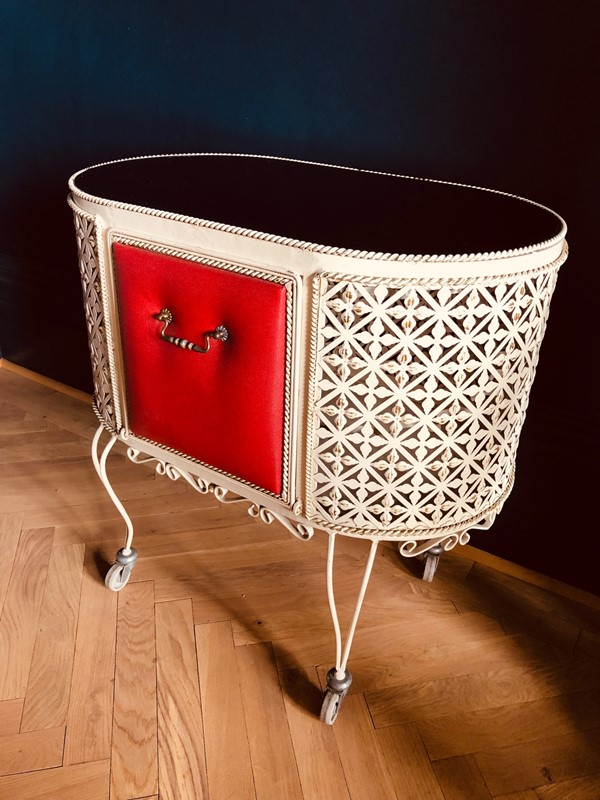 Mid Century French Cabinet / Bar Cart-20th-century-filth-metal-and-red-vinyl-trolley-3-main-637032288287151320.jpg