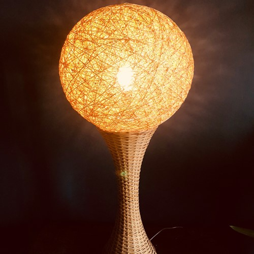 German Rattan Floor Lamp