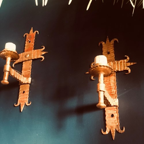 Pair of Spanish gilded iron wall lights