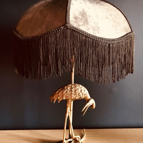 Silver Plate Heron Lamp, by Valenti