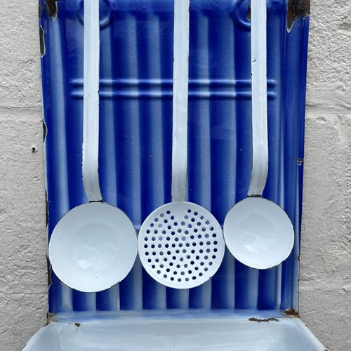 French Vintage Enamel Utensils and Drip Tray