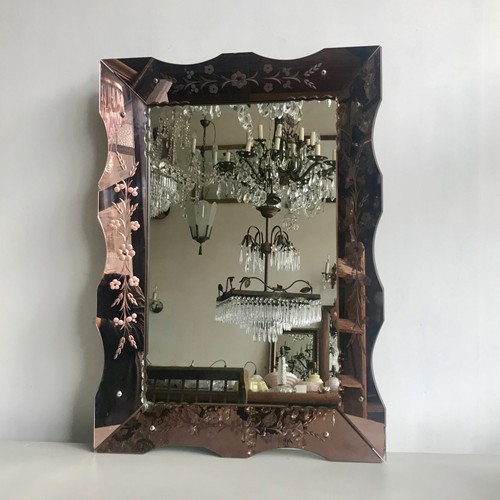 1930s Bevelled Rose Glass Mirror