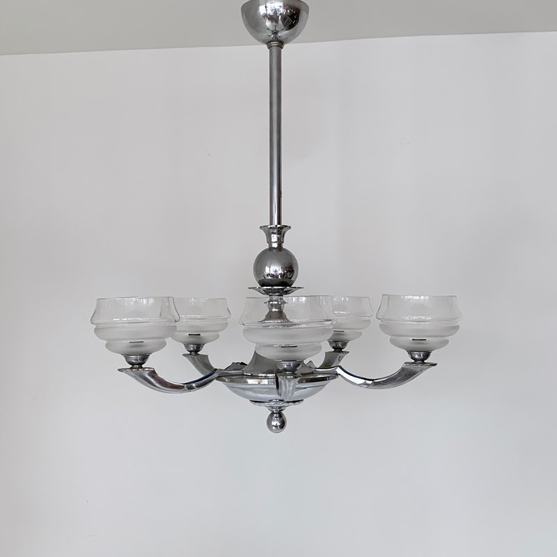 Art Deco Chromed Chandelier with Textured Shades-agapanthus-interiors-art-deco-chromed-chandelier-with-textured-glass-shades-main-637014824010056781.jpeg