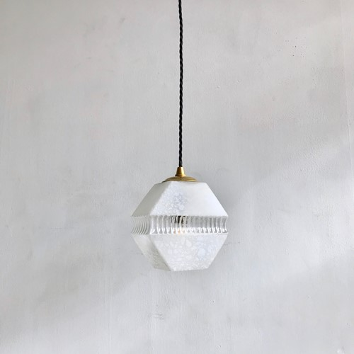 French White and Clear Glass Geometric Shade