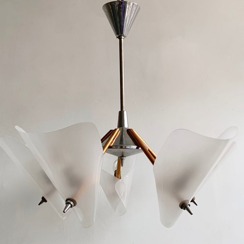 Mid-Century Copper and Chrome Uplighter Chandelier