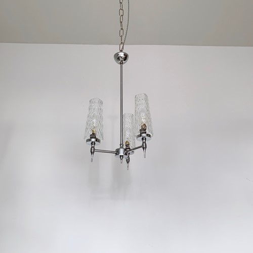 Small Mid Century Chromed Chandelier