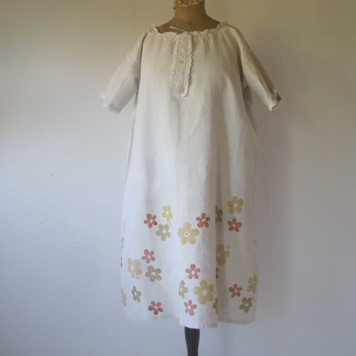 Pretty French pure linen dress, block printed