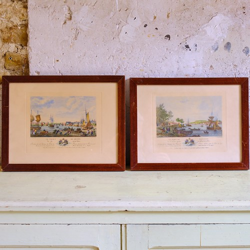 Pair of colour engravings of French harbours