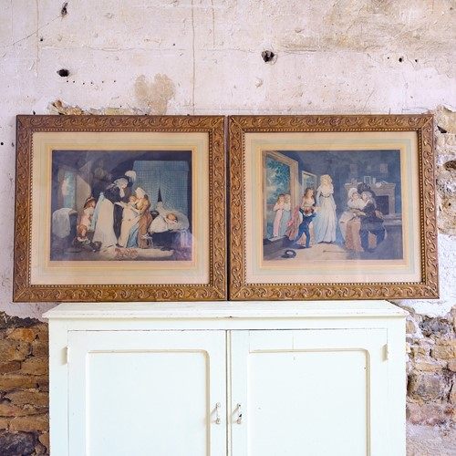 Pair of large French framed colour engravings