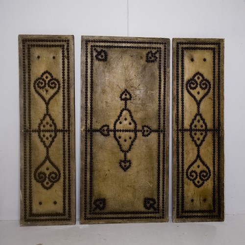 Set of decorative leather panels