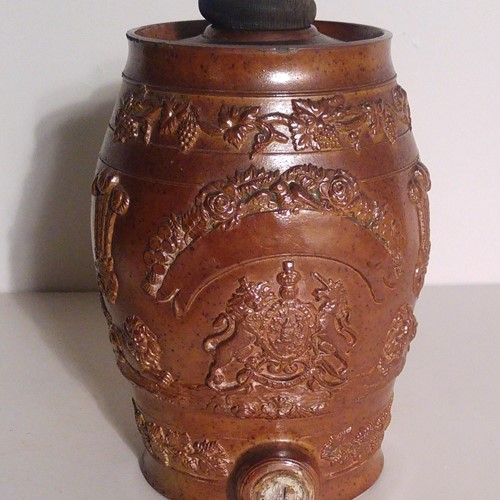Decorative Victorian stoneware spirit barrel
