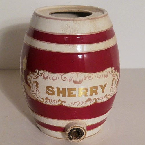 Edwardian ceramic sherry spirit barrel