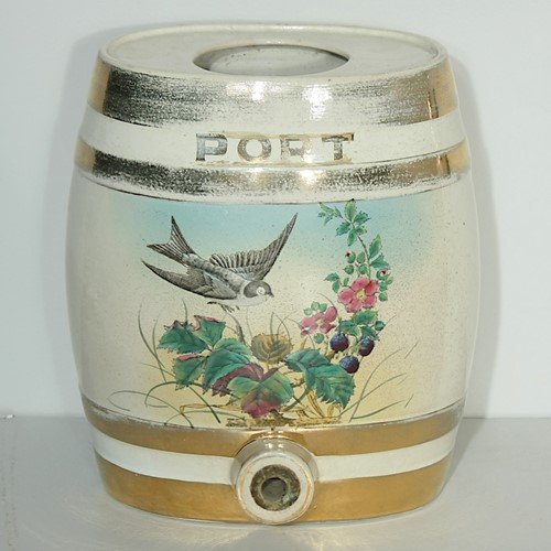 Victorian ceramic port spirit barrel