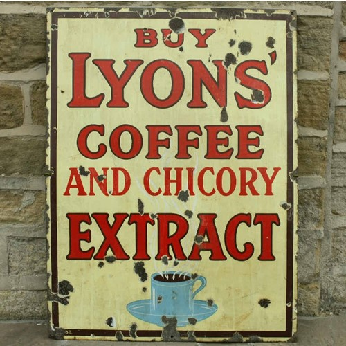 Lyon's coffee enamel sign