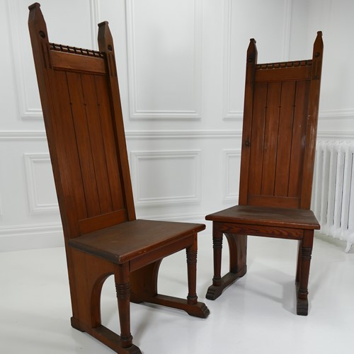 English Pitch Pine Ecclesiastical Altar Chairs