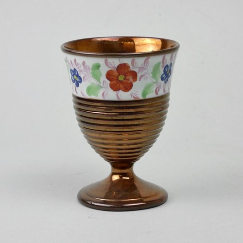 Engine turned lustre goblet