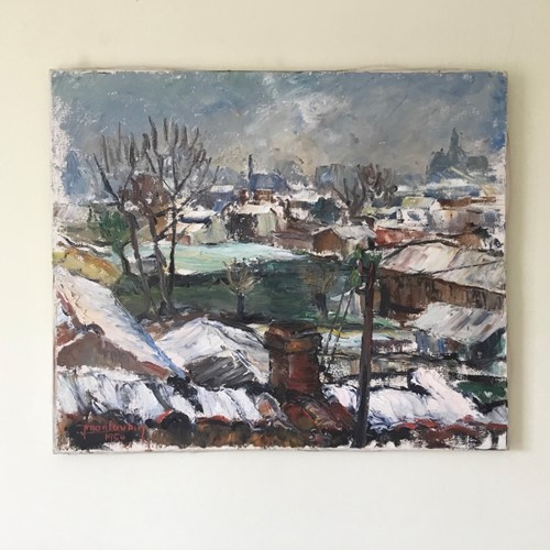 Painting of Winter rooftops