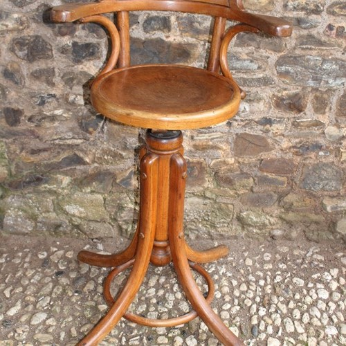 Bentwood Edwardian  machinist swivel stool