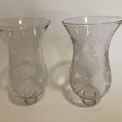 A pair of etched glass  shades
