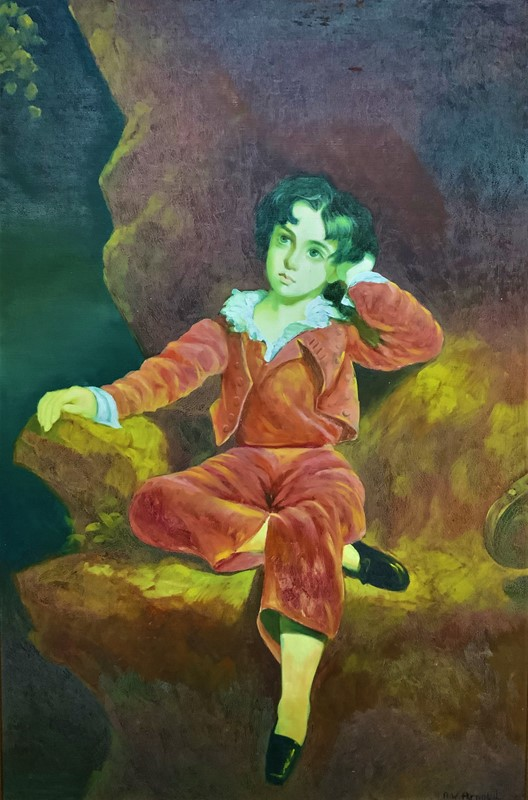 'The Red Boy' Large Portrait Oil Painting-artsonline-img-0143-2-main-637445841927563096.JPG