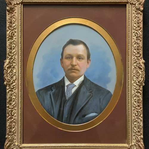 Oval Oil Portrait Painting Of An Edwardian Gent