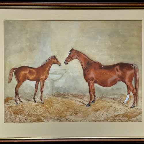Horse & Foal mid-1900s Equestrian Painting