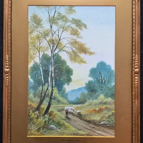 19thc Derbyshire Sheppard Watercolour Painting