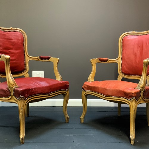19thc Shabby chic French Giltwood Armchairs