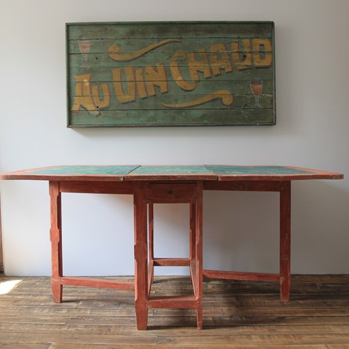 Dutch drop leaf folk art table