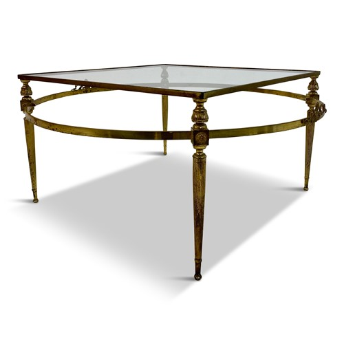 Vintage 1970s Two Tiered Brass Coffee Table
