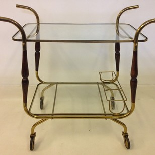 Italian brass and wood trolley