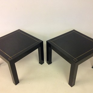 Black acrylic and brass side table