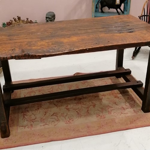 Good Solid 19th C English Folk Art Work Table
