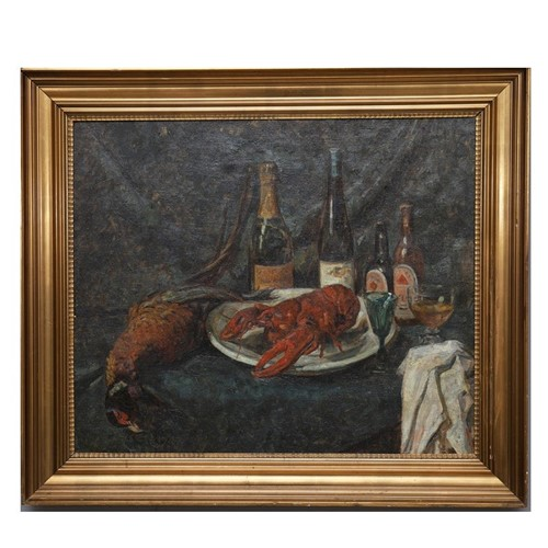Large, 1929, Painting, 'Champagne and Lobster.'