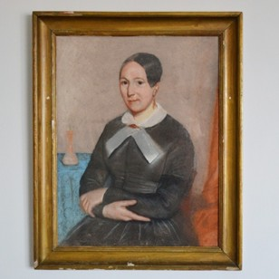 19thC Pastel Portrait, Woman with White Collar