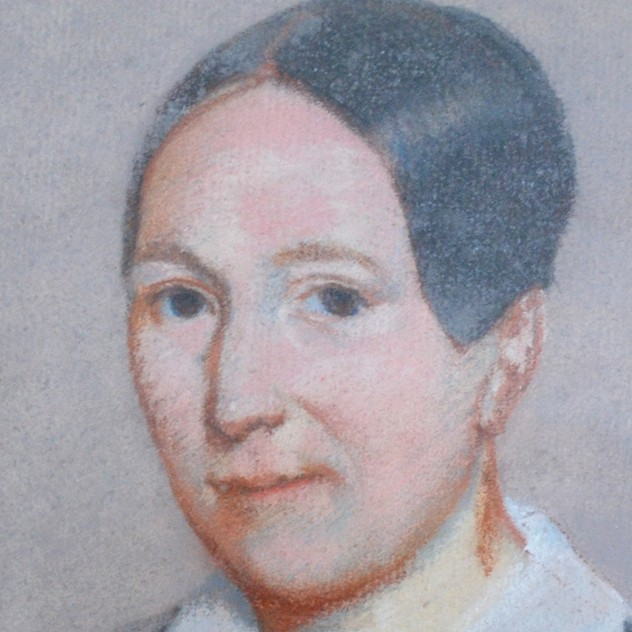 19thC Pastel Portrait, Woman with White Collar-barnstar-Pastel Portrait with White Bow2 _main_636512804327079903.jpg