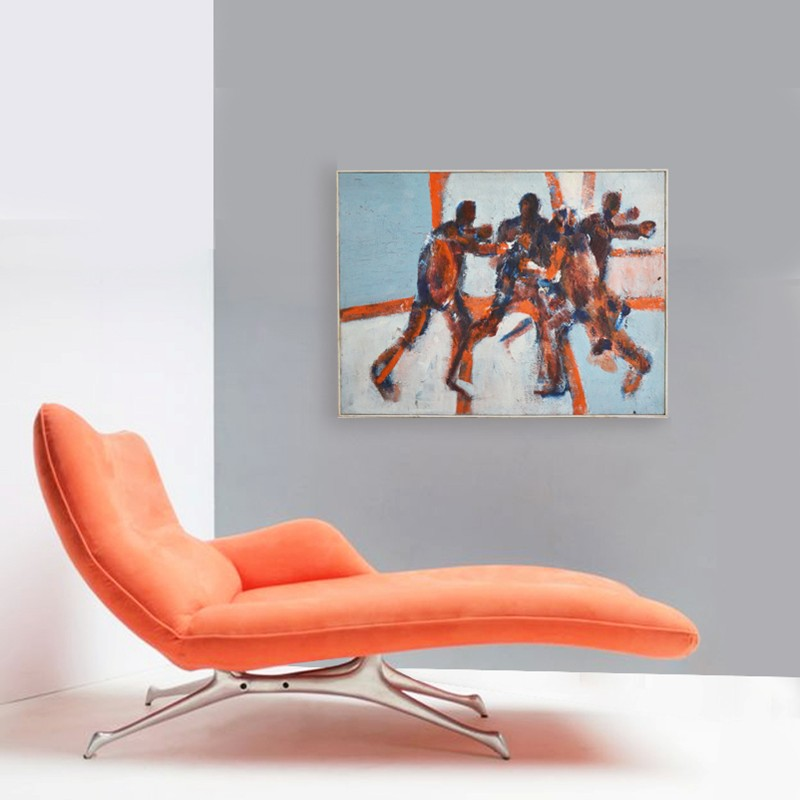 1960's, Large, Expressionist Painting, 'The Game'-barnstar-The Game LIFE NEW-main-636688272753080359.jpg