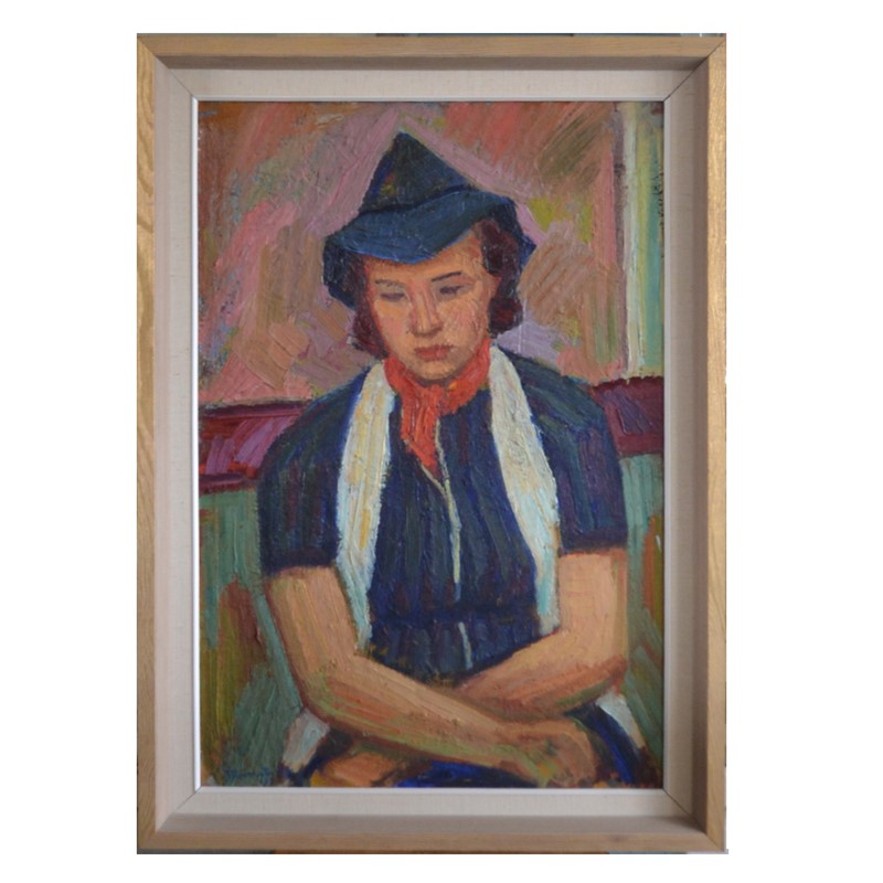 Large Painting, 1938, 'Girl in a Blue Hat.'-barnstar-girl-in-a-blue-hat-bertil-jarnsted-main-main-636990625318621271.jpg