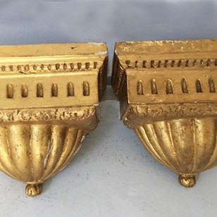 Pretty Pair of 19thC French, Gilded, Wall Brackets