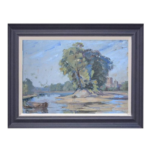 Late 19th C, Oil Painting, 'The Eyot'