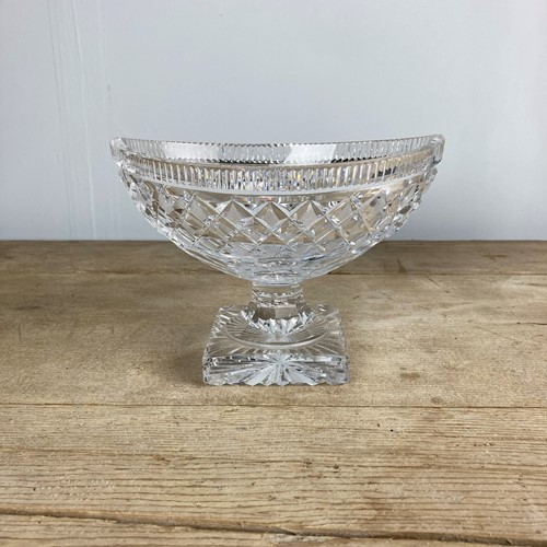 C19th Cut glass boat shaped fruit bowl
