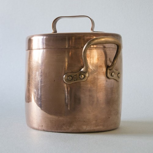 Antique copper stewpot