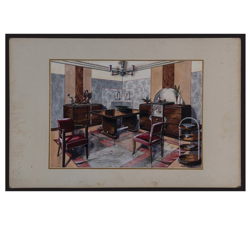 Watercolor Studies Art-Deco Interiors-bibliotheca-culinaria-9275-stampa-soggiorno-4-main-637044874321359437.jpg