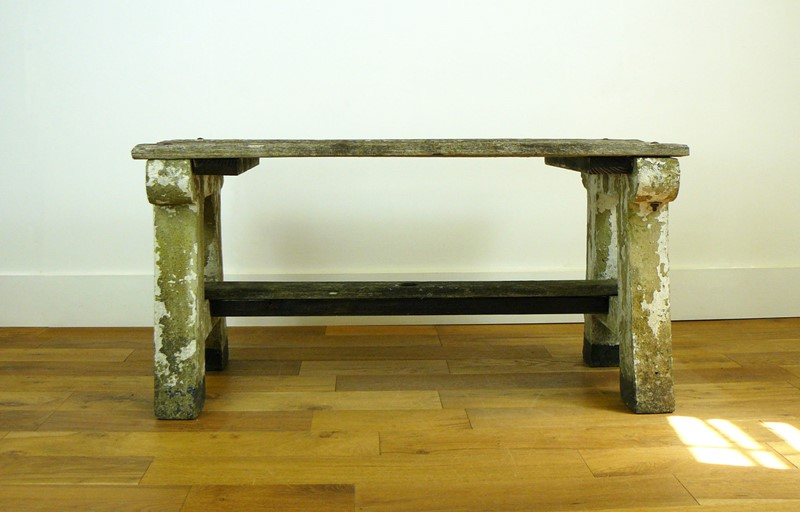 1930s Concrete and Wood Garden Bench Table-billy-hunt-vintage-concrete-canalside-table-0001-p1380071-main-637286108619093100.jpg