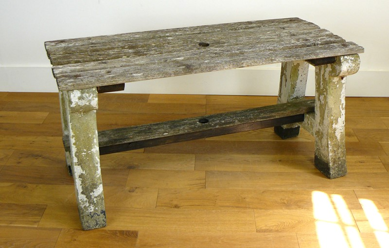 1930s Concrete and Wood Garden Bench Table-billy-hunt-vintage-concrete-canalside-table-0002-p1380069-main-637286108340188351.jpg