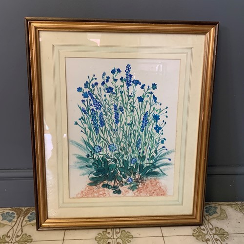 Vintage Painting of Blue Flowers in Gilt Frame